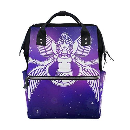 Tizorax stylisée Déesse Ishtar Angel Queen la nuit étoiles Ciel Diaper Sac à dos Grande capacité bébé Sac multifonctions Sacs à couches de voyage Maman Sac à dos pour bébé Care