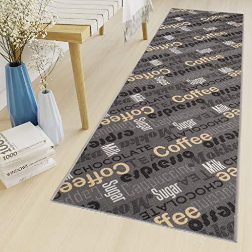 Tapiso Anti Rutsch Teppich Läufer rutschfest Brücke Meterware Modern Braun Gelb Grau Kaffee Schrift Design Flur Küche Wohnzimmer 80 x 250 cm