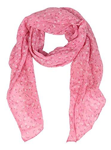 Seiden-Tuch Damen Blumen Muster - Made in Italy - Eleganter Sommer-Schal für Frauen - Hochwertiges Seidentuch / Seidenschal - Halstuch und Chiffon-Stola stilvolles Muster von Zwillingsherz pink