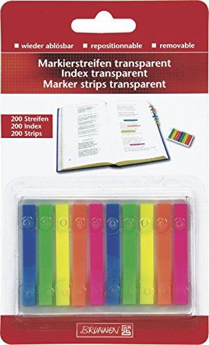 Brunnen 1055886 Markierstreifen (Neonfarben transparent, rückstandfrei ablösbar, 200 Markierstreifen)