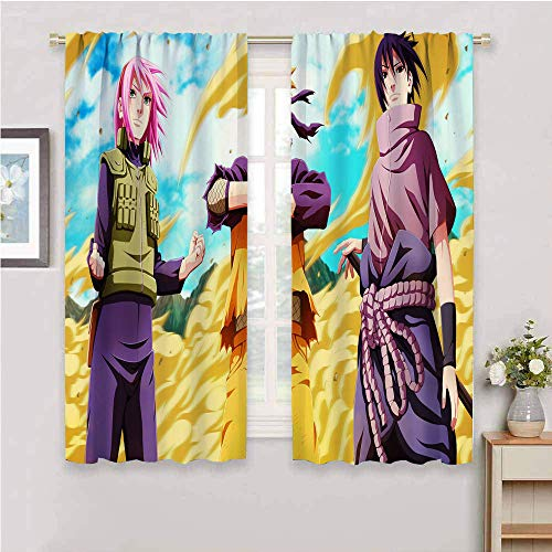 Cortinas opacas de anime japonés, para dormitorio, aislamiento térmico, bolsillo para barra, cortinas oscurecedoras para sala de estar (55 x 45 pulgadas)