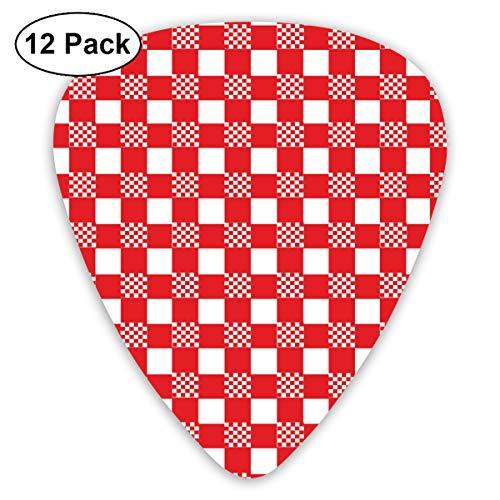 Gitaar Pick Rood En Wit Tafelkleed 12 Stuk Gitaar Paddle Set Gemaakt Van Milieubescherming ABS Materiaal, Geschikt voor Gitaren, Quads, Etc