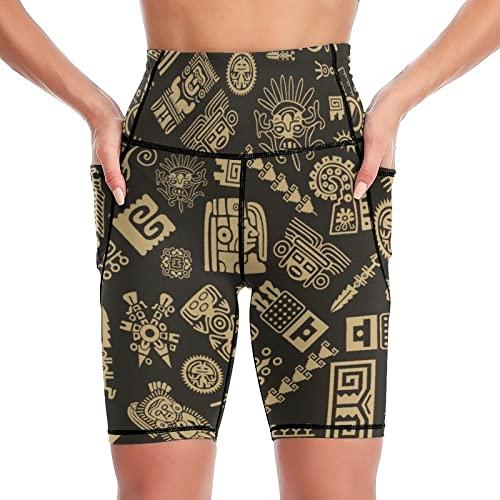 Yuzheng Pantalones Cortos De Yoga Patrón Maya Diseño Antiguo Azteca Pantalones Deportivos para Mujeres