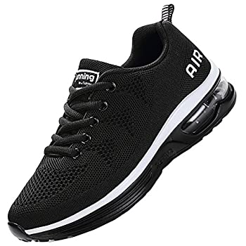 JARLIF Men s Lightweight Athletic Running Shoes Breathable Sport Air Fitness Gym Jogging Sneakers  Size 8.5 Black
