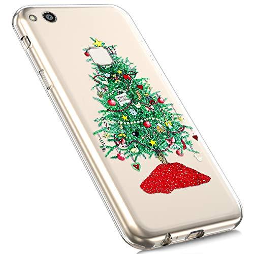 MoreChioce kompatibel mit Huawei P10 Lite Hülle, Huawei P10 Lite Handyhülle,Ultra Slim Transparent Niedlich Silikon Christmas Weihnachten Schneeflocke Hirsch TPU Gel Bumper,Grün Weihnachtsbaum