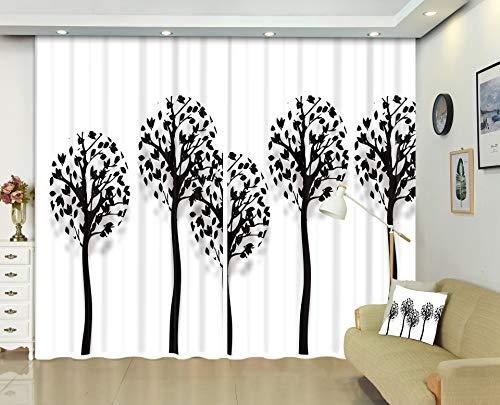 Meetshine Blackout Curtain 2 Stück Home Gardinen Fenster Wärmedämm Vorhänge Für Schlafzimmer Wohnzimmer Kinder Jungen, Black Tree,2 * 2.4m