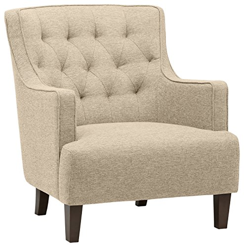 Amazon Brand – Stone & Beam Decatur Modern Tufted Wingback Living Room Accent Chair, 32.3'W, Oatmeal
