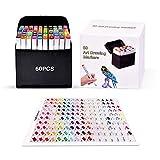 Pachock 60 colori Disegno Pennarello, art sketch pennarelli doppia punta graphic marker per pittura, carte da regalo, album fotografici artigianali