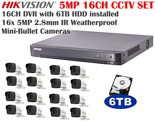 Lowest Price! 5 Megapixel Hikvision 16CH Turbo HD Analog CCTV System with 16CH DVR + 6TB HDD and 16x...