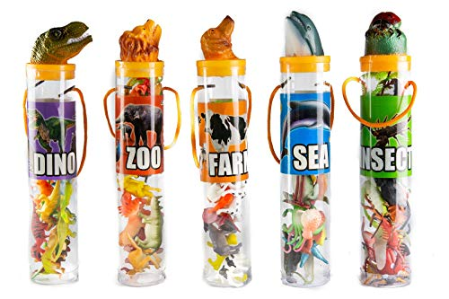 Kovot Mini Animal Toys in Tubes 69-Piece Set | Includes A Variety of Zoo, Farm, Sea, Insects & Dinosaur Figures | 5 Separate Containers (5 Tubes (Complete Set))