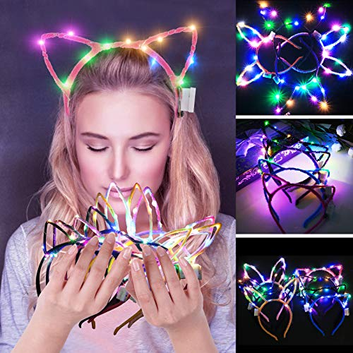 JUSTDOLIFE Party Hair Hoop LED Light up Decorative Hair Band for Girls Women