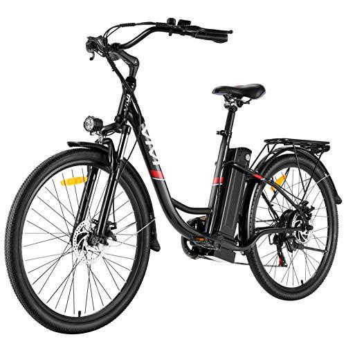 """VIVI Bicicleta Eléctrica 250W 26""""Bicicleta Eléctrica de Crucero/Bicicleta Eléctrica de Ciudad con Batería Extraíble de Iones de Iitio de 8 Ah, Shimano 7 Velocidades (Negro)"""