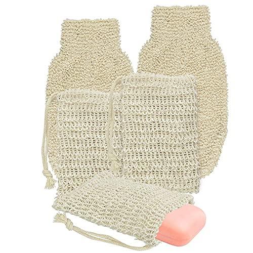 Kbnian 3 Stück Natur Seifenbeutel Bio Sisal Seifensäckchen und 2 Stück Peeling Handschuhe Massagehandschuh Duschhandschuhe, für Körperpeeling Reinigt Porentief