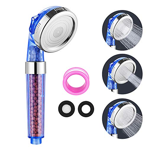 Newdora Duschkopf Handbrause Wassersparen mit Druckerhöhung 3 Modi Einstellbar, für hartes Wasser durch den Kalkfilter und Ionenfilter, um das Wasser zu erweichen, Multifunktions-Duschkopf