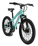 BIKESTAR Bicicleta de montaña Juvenil 20 Pulgadas de 6 a 9 años | Bici niños Cambio Shimano de 7 velocidades, Freno de Disco, Horquilla de suspensión | Menta