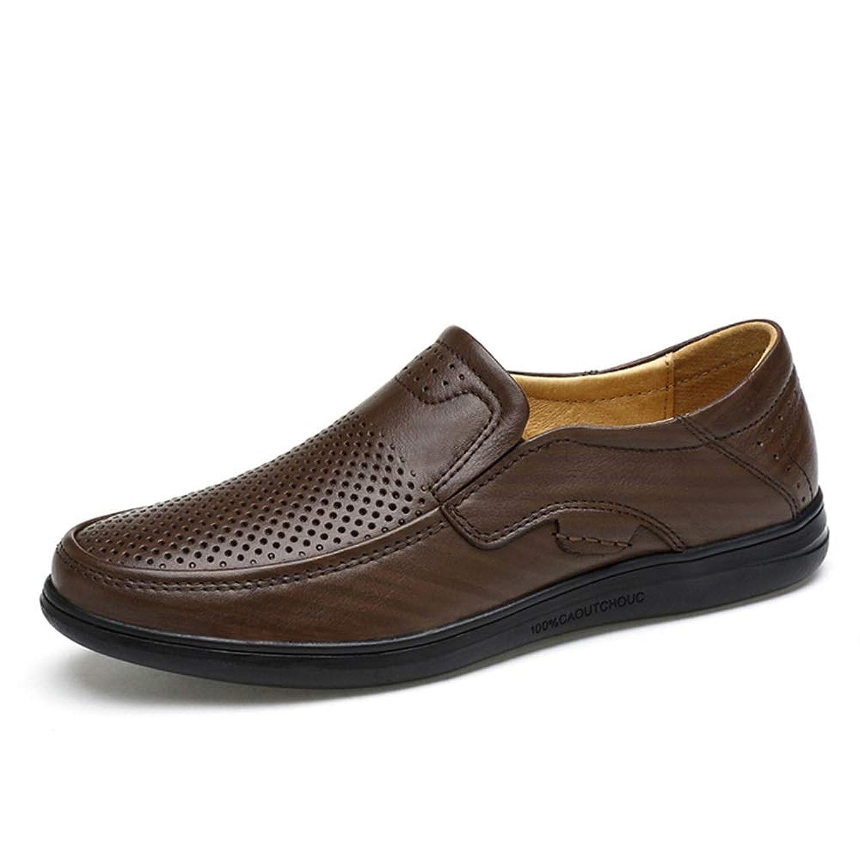 シューズ ファッション 男性のためのオックスフォードシューズは、OXレザーの丸いつま先の 靴でローファースリップを運転します(中空Vampはオプションです) 快適 (Color : Dark Brown Hollow, サイズ : 27.5 CM)