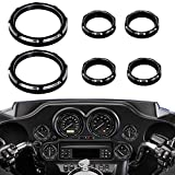 NTHREEAUTO 4' Speedometer Tachometer Gauges Trim Ring + 2' Auxiliary Gauge Bezels, Motorcycle Instrument Board Covers Compatible with Harley Electra Street Road Glide Ultra Classic FLHX FLHT 1996-2013