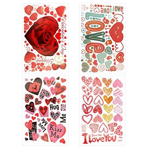YiYa 183PCS Día de San Valentín Corazón Ventana Adornos Decoraciones para la oficina en casa Boda San Valentín Decoraciones para fiestas Suministros Decoraciones de aniversario