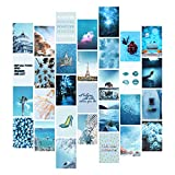 YUMKNOW Aesthetic Wall Collage Kit - 4x6 inch Set of 30, Teen Girl Room Decor for Bedroom Dorm, Motivational Wall Art, Beach Ocean Blue Photo Picture Posters, Inspirational Gift for Teenage Girls Her