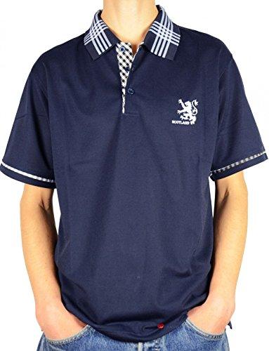 I Luv Ltd Mens Scotland Lion Tartan Collar Polo Shirt Navy Blue Large