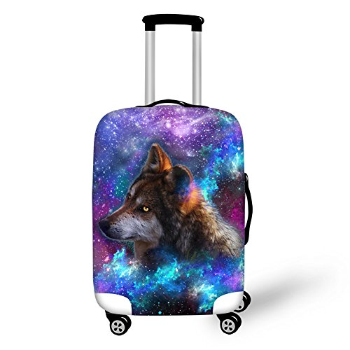 HUGS IDEA Durable Elastic Travel Luggage Protective Covers for 26 28 30 Inch Suitcase (Wolf)