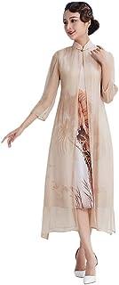 HangErFeng الحرير Qipao الصينية الأساسية زهرة الطباعة اللباس الأنيق رومانسية تحسين اللباس شيونغسام