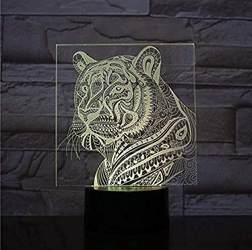 3D Ilusión Optica Luz Nocturna Decoración Tabla Lámpara De Escritorio Tigre 7 Colores Control Remoto Toque Juguetes Decoración Navidad Regalo De Cumpleaños