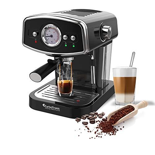 19 Bar Retro, Siebträgermaschine für Kaffee & Espresso, Milchaufschäumer, Espressomaschine, Kaffeemaschine, Cappuccino (Schwarz)