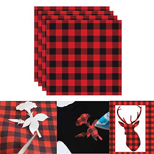 Deng Xuna Wärmeübertragung Vinyl Patches Textilfolien Transferpapier DIY für T-Shirts Hüte Taschen, 12 x 12 Zoll (30.5 × 30.5 cm), 4 Blatt, rot und schwarz Plaid (Rot)