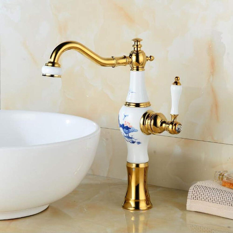 360° Drehbar Blauer und weier Porzellanhahn Europischen Bad Kunst Becken zubehr antiken Wasserhahn heies und kaltes Waschtischarmatur,GoldFaucet