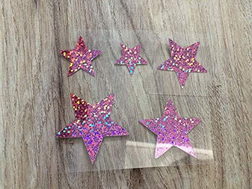 Farbwuselei Glitzer Bügelbild 5 Sterne 4 cm bis 2 cm Glitzer rosa Glitzerrosa