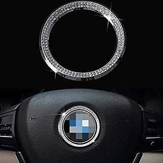 Pursuestar Bling Crystal Silver Interior Steering Wheel Decoration Ring Sticker Trim Caps for BMW 3 4 5 Series X1 X3 X5 X6...