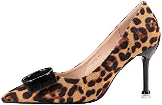 LUKEEXIN Ladies Fashion Pointed High Heels Slim Leopard Single Shoes Stiletto Mane Shoes