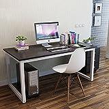 GOTOTOP Bureau Ordinateur Informatique Table PC Meuble Table de Travail Grande Surface en Bois et Metal 120x60x74cm (Noir)
