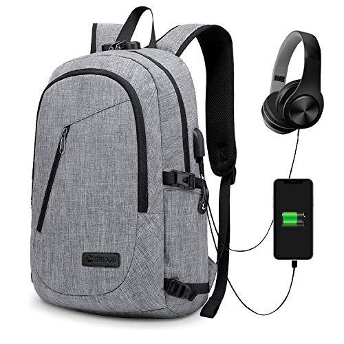 Judiao Zakelijke laptoprugzak met USB-oplaadpoort, diefstalbeveiliging, grote capaciteit, reis-rugzak, schooltas voor notebook computer, business, reizen, werk