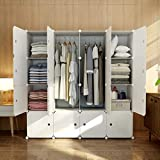 KOUSI Portable Wardrobe Closets 14'x18' Depth Cube Storage, Bedroom Armoire, Storage Organizer with Doors, 16 Cubes, White