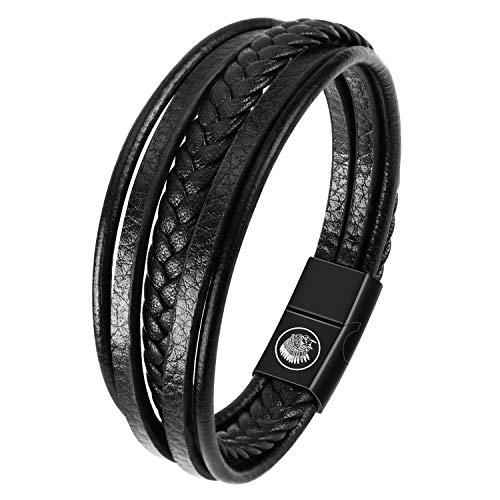 Casisto.J Personalisiertes Armband Lederarmband Herren Personalisierter Armband Herren Männer Leder Silber Edelstahl Geschenkbox Mit Namen Gravur für Männer Frauen (Black, 21)