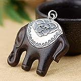 THTHT S925 Vintage Silver Necklace para Las Mujeres Matt Sándalo Elefante Creativa Clásica Y Elegante Grabado Personalidad Singular Don Unisex
