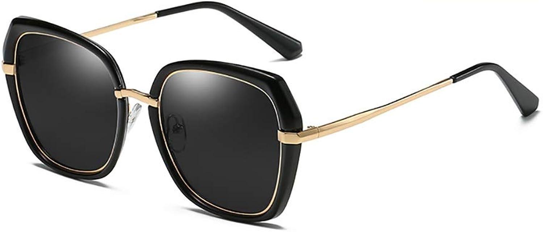 Sunglasses Big face Round face Polarized Sunglasses Female Korean Version of The Tide UV Predection Glasses (color   A)