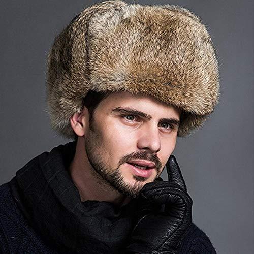 XCLWL Russen Mütze Herren Wintermode Russische Hüte Kappen Männlichen Herren Warme Bomber Hüte Solide Verdicken Earflap Caps Solide Schnee Hüte Wärmer, Beige