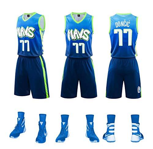 Dallas Mavericks #77 Luca Doncic Camisetas de Baloncesto Jersey Y Pantalones Conjunto Sport,Bordado Transpirable y Resistente al Desgaste Camiseta para Fan,Gradient Blue,XL