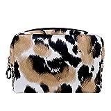 Neceser de Viaje para cosméticos para Mujer Bolsa de Maquillaje con Cierre de Cremallera portátil Diario,Leopardo Animal Print