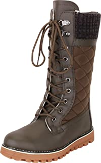 Cambridge Select Women's Lace-Up Faux Fur Lined Quilted Knit Collar Winter Snow Boot