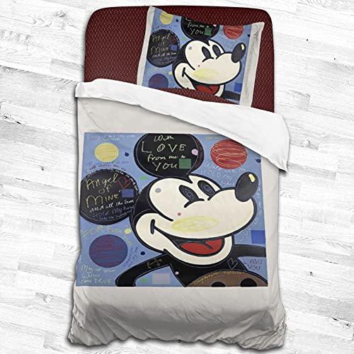 Mickey Cartoon Mouse juegos de cama para niños y niñas adolescentes funda de edredón 2 piezas juegos de cama 1 funda de edredón 1 funda de almohada negro