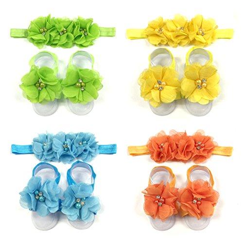 ALLYDREW Baby Girl Barefoot Flower Sandals & Headbands Set Chiffon Flower Baby Sandals - Sunshine (set of 4),One Size