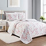 Sakura Collection 3 Piece Quilt Set with Shams. Reversible Floral...
