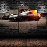 FRTTCYO 5 Pieces Wall Art Decor Poster Painting On Canvas Print Pictures Toyota Supra 90's Sports Car Poster for Living Room Bedroom Kitchen Home Decorations Modern Artwork Framed