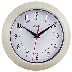 Equity by La Crosse 25015 Round Plastic Analog Wall Clock, 8, Almond Beige