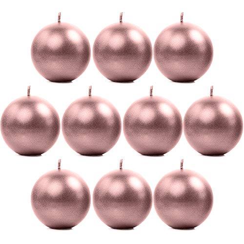 10 Stück Metallische Runde Kerzen in Roségold 6 cm Kugelkerzen Deko