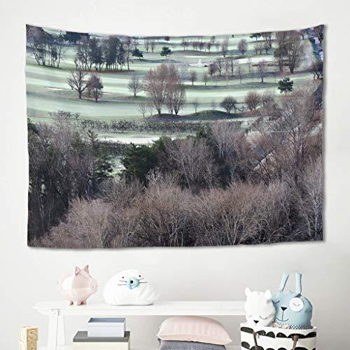 Niersensea Tapiz para colgar en la pared, diseño de árbol, plantas, campo, campo, picnic, playa, mesa, sofá, dormitorio, cama, decoración de pared, blanco, 150 x 150 cm